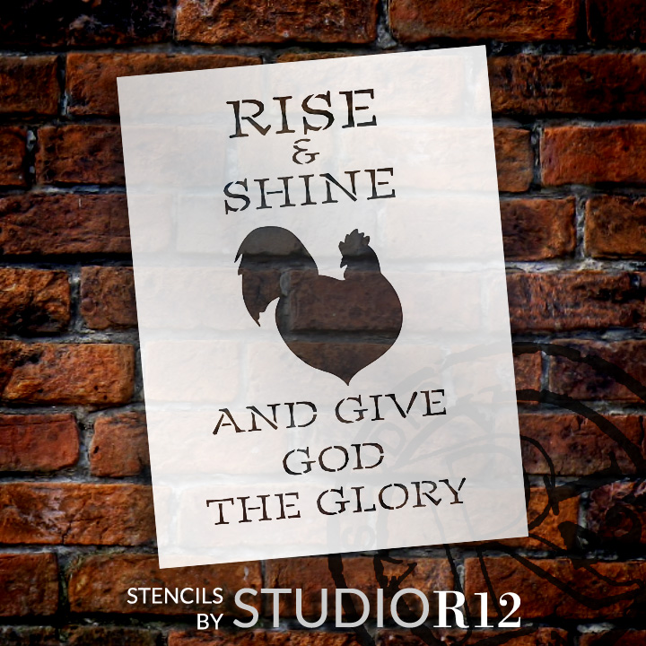 "Give God The Glory - Rooster - Word Art Stencil - 10"" x 15"" - STCL1861_2 - by StudioR12"