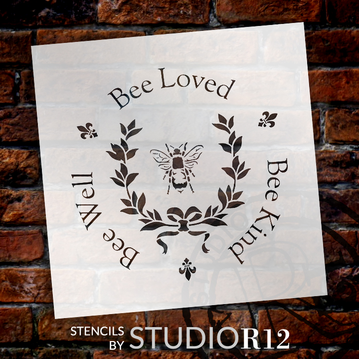 """Bee Kind, Bee Well, Bee Loved - Round  - Word Art Stencil - 18"""" x 18"""" - STCL2152_4 - by StudioR12"""