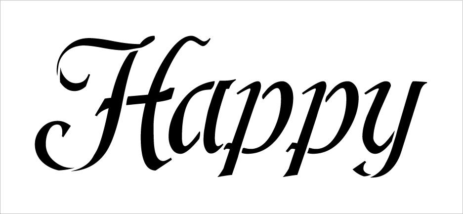 "Happy - Fun Style  - Word Stencil - 13"" x 6"" - STCL2155_1 - by StudioR12"