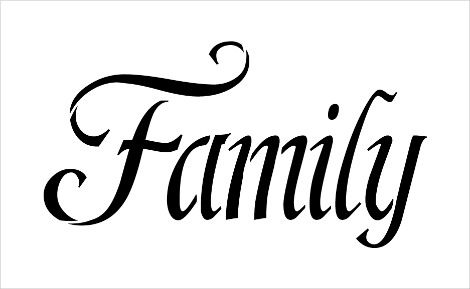 "Family - Fancy - Word Stencil - 24"" x 15"" - STCL2156_4 - by StudioR12"