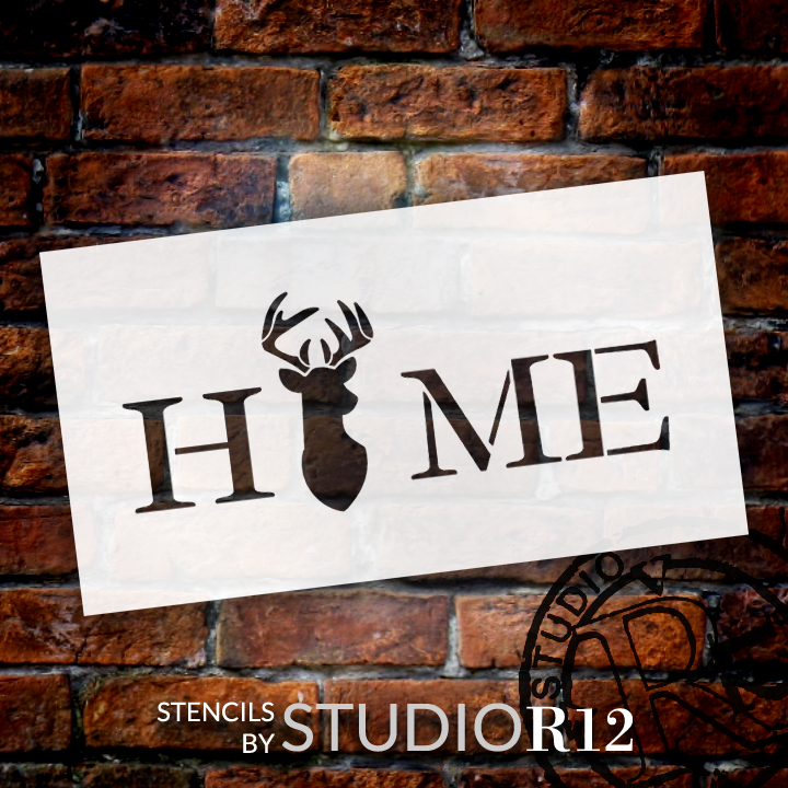 """Home Stencil with Deer & Antlers StudioR12 