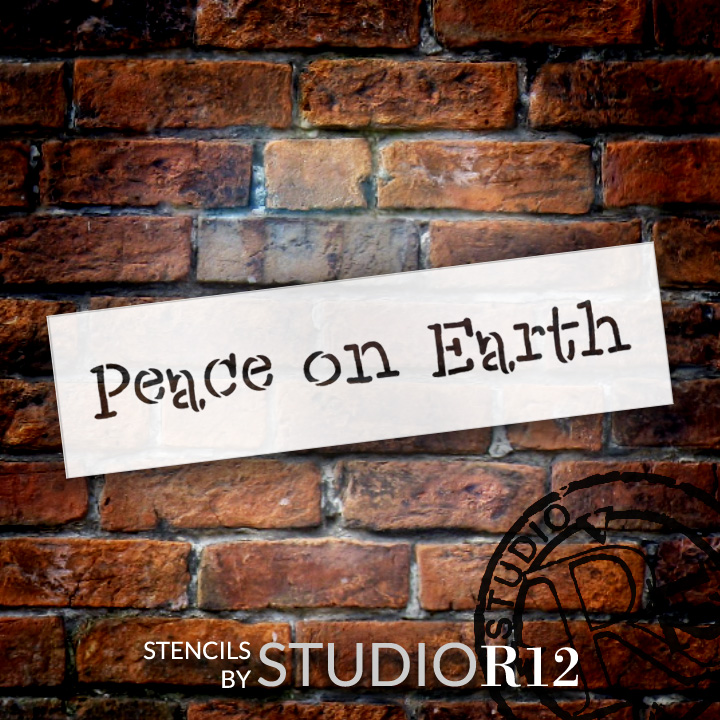 """Peace On Earth - Word Stencil - 17"""" x 5"""" - STCL1844_4 - by StudioR12"""