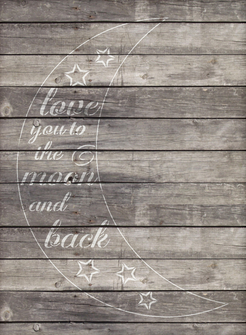 "Moon and Back - Casual Script - Word Art Stencil - 14"" x 18"" - STCL1841_2 - by StudioR12"