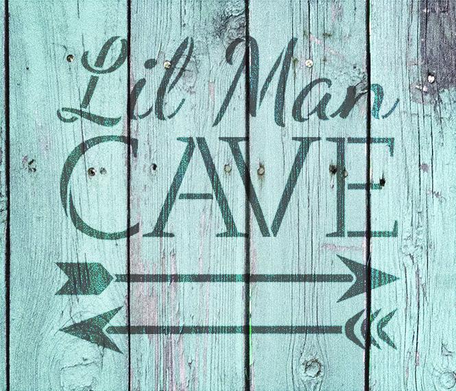 """Lil Man Cave - Arrows - Word Art Stencil - 7"""" x 7"""" - STCL1838_1 - by StudioR12"""