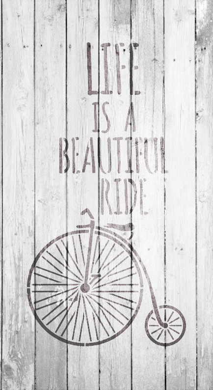 """Life Is Beautiful - Old Timey - Word Art Stencil -  12"""" x 20"""" - STCL1837_4 - by StudioR12"""