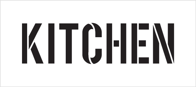 "Kitchen - Simple - Word Stencil - 9"" x 4"" - STCL1835_2 - by StudioR12"