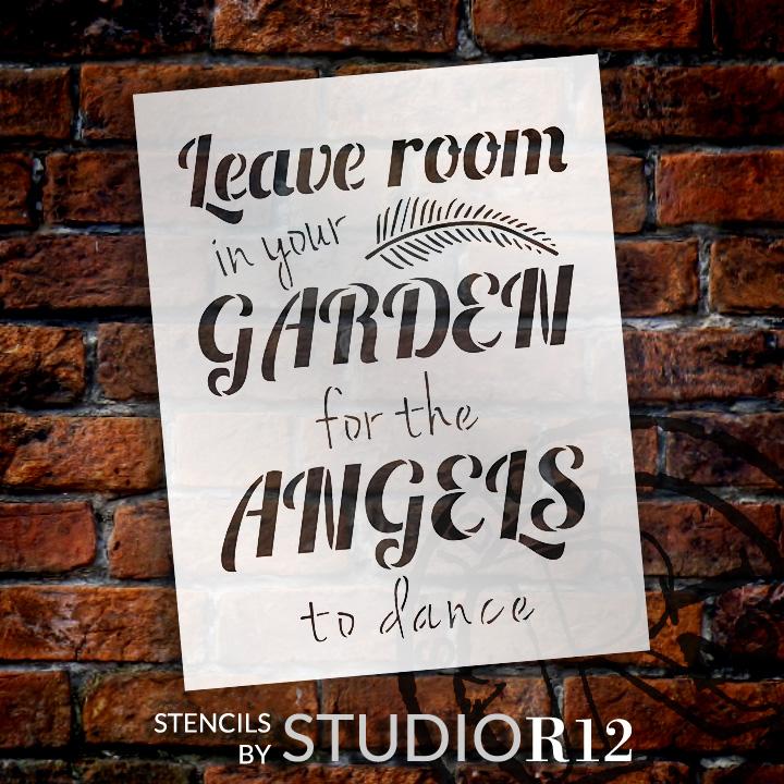 """Garden Angels - Word Art Stencil - 8"""" x 10"""" - STCL1827_1 - by StudioR12"""