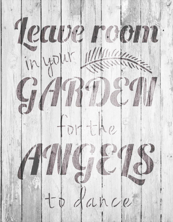 "Garden Angels - Word Art Stencil - 15"" x 19"" - STCL1827_4 - by StudioR12"