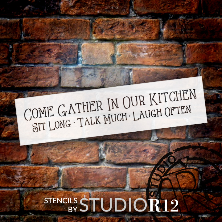 "Come Gather - Kitchen - Skinny - Word Stencil - 12"" x 3"" - STCL1822_1 - by StudioR12"