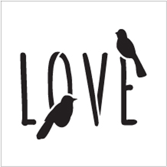 "Bird Love - Word Art Stencil - 15"" x 15"" - STCL1820_5 - by StudioR12"