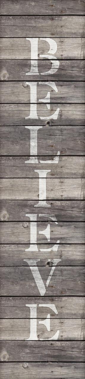 "Believe - Vertical - Word Stencil - 4"" x 15"" - STCL1819_3 - by StudioR12"