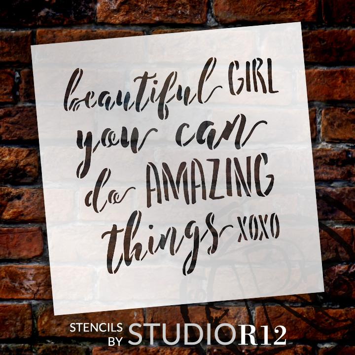 "Beautiful Girl - Word Stencil - 9"" x 9"" - STCL1818_1 - by StudioR12"