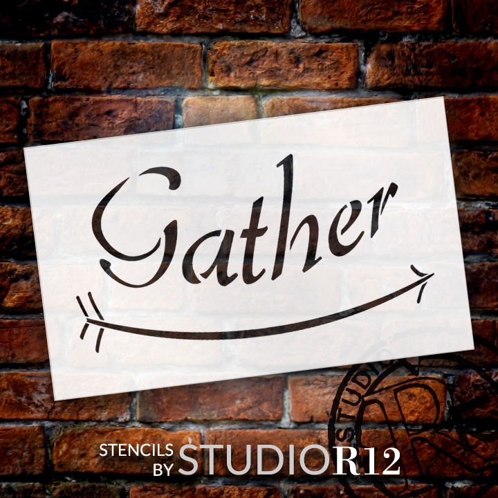 "Gather - Curved Arrow - Word Art Stencil - 19"" x 12"" - STCL1816_4 - by StudioR12"