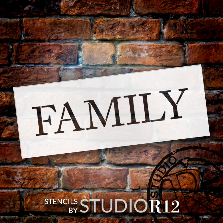 "Family - Word Stencil - 11"" x 4"" - STCL1003_2 - by StudioR12"