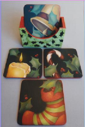 Pepperleaf Christmas Coasters - E- Packet - Judith Westegaard