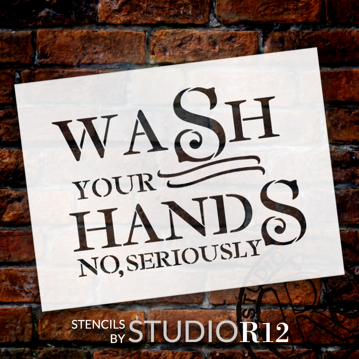 """Wash Your Hands - Bold - Word Art Stencil - 20"""" x 15"""" - STCL2163_3 - by StudioR12"""