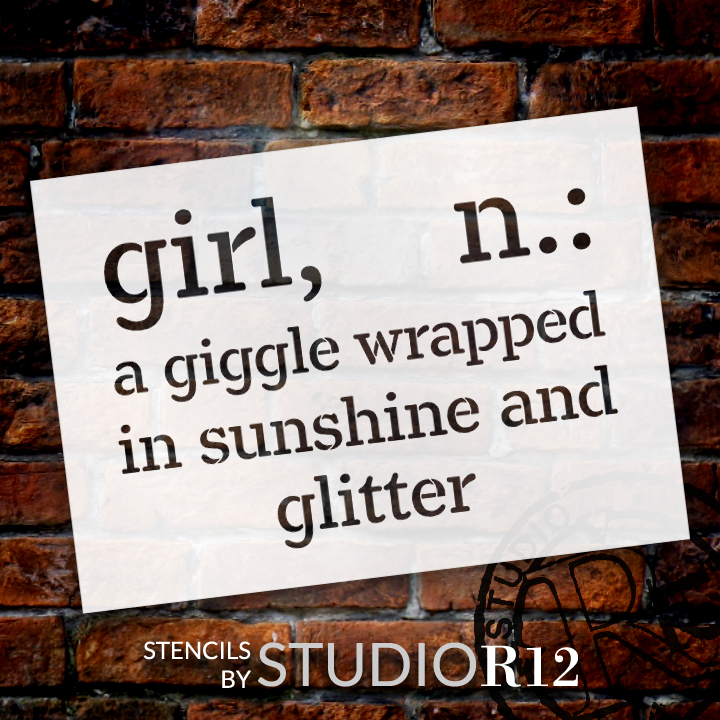 """Girl - Wrapped In Sunshine - Word Stencil - 17"""" x 13"""" - STCL2169_2 - by StudioR12"""