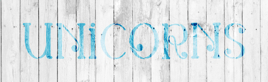 "Unicorns - Swirls - Word Stencil - 20"" x 6"" - STCL2174_3 - by StudioR12"