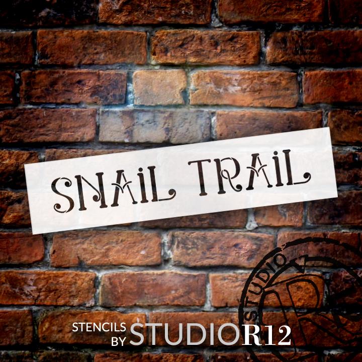 """Snail Trail - Swirls - Word Stencil - 16"""" x 4"""" - STCL2175_2 - by StudioR12"""