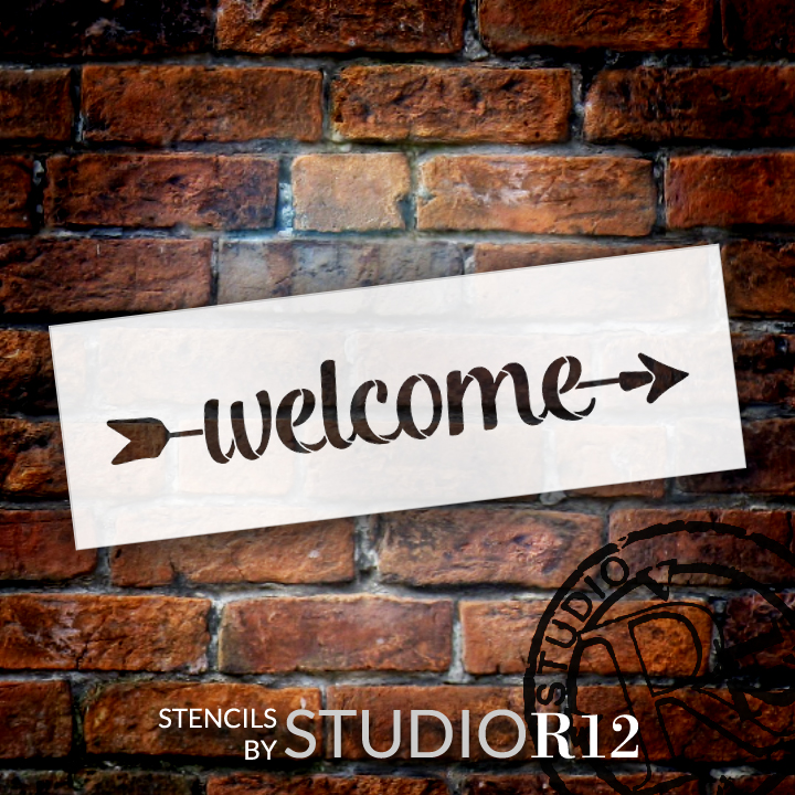 "Welcome - Simple Script - Arrow - Word Art Stencil - 16"" x 5"" - STCL2179_2 - by StudioR12"