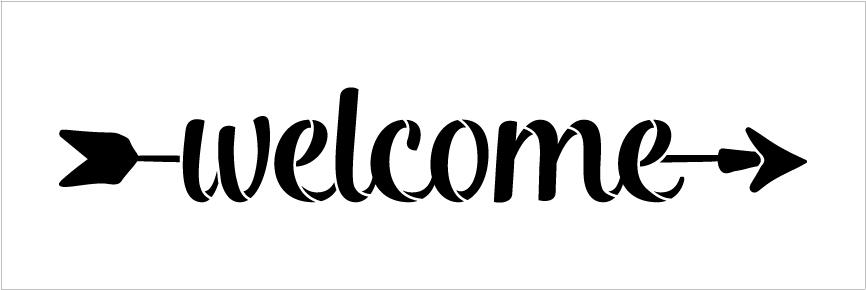 "Welcome - Simple Script - Arrow - Word Art Stencil - 24"" x 7"" - STCL2179_4 - by StudioR12"