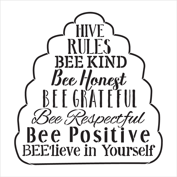 "Hive Rules - Word Art Stencil - 19"" x 19"" - STCL2182_3 - by StudioR12"