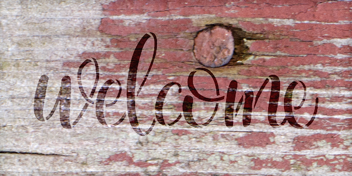 "Welcome -Side Script - Word Stencil - 11"" x 5"" - STCL1493_2 - by StudioR12"