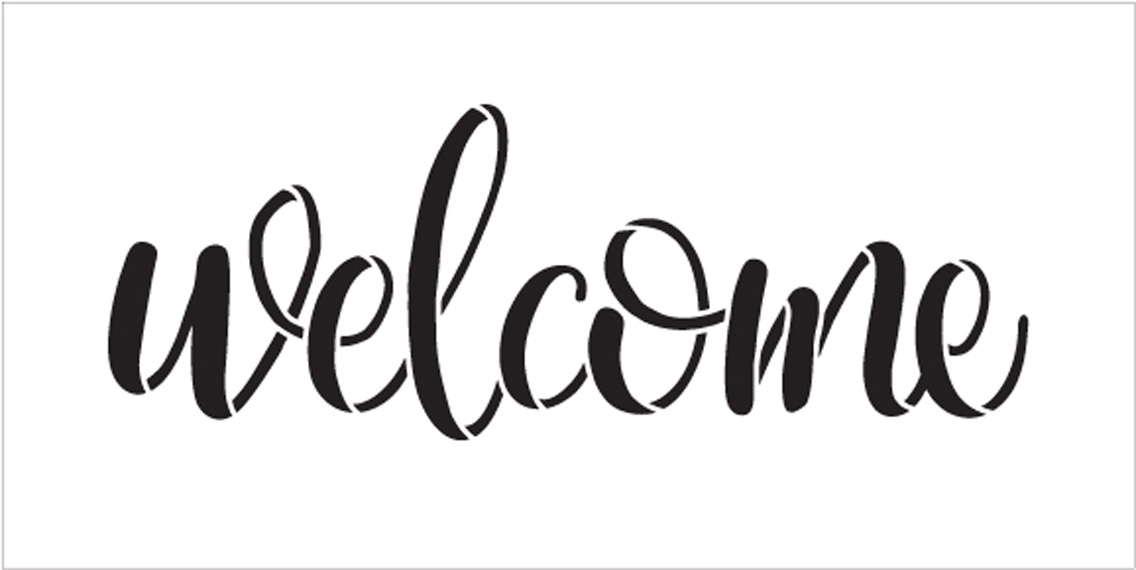 "Welcome -Side Script - Word Stencil - 20"" x 8"" - STCL1493_5 - by StudioR12"