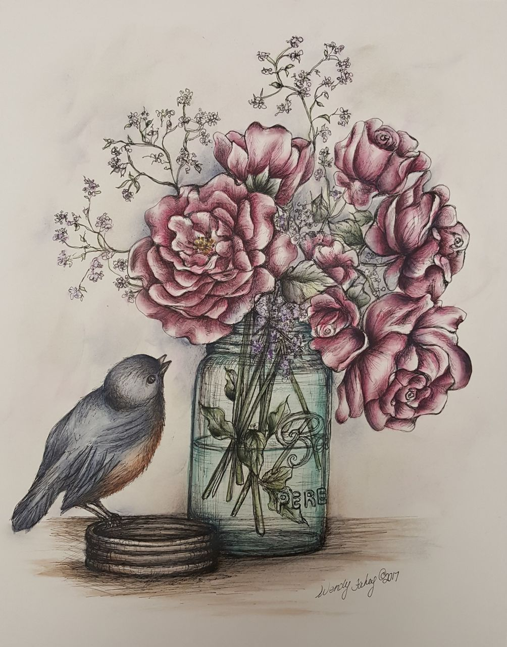 Roses and Mason Jar Pen & Ink - E-Packet - Wendy Fahey