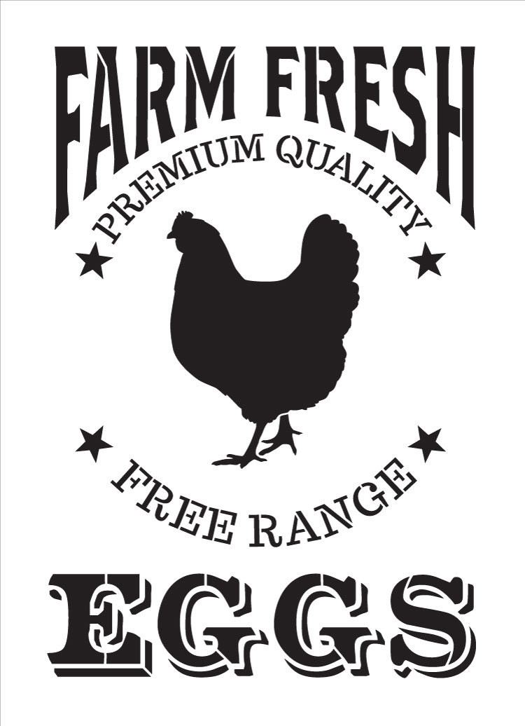"Farm Fresh Eggs, Chicken Stencil by StudioR12 | Reusable Mylar Template - 11"" x 15.25"""