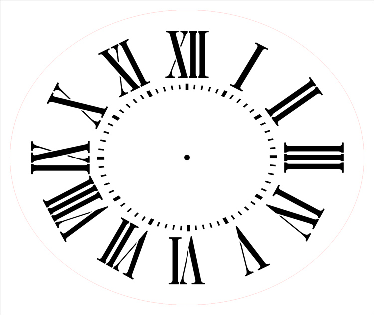 "Antique Oval Clock Face Stencil - 12"" x 10"" - STCL2328_1 - by StudioR12"
