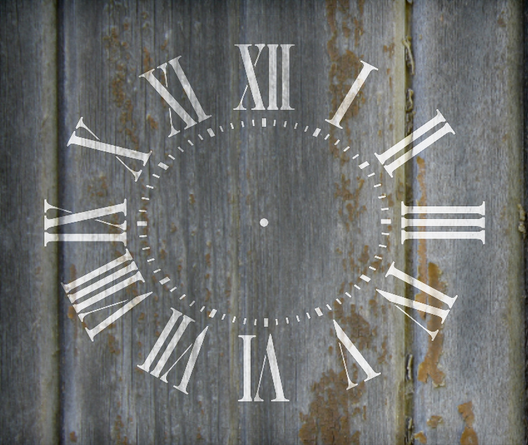 "Antique Oval Clock Face Stencil - 14"" x 11 5/8"" - STCL2328_3 - by StudioR12"