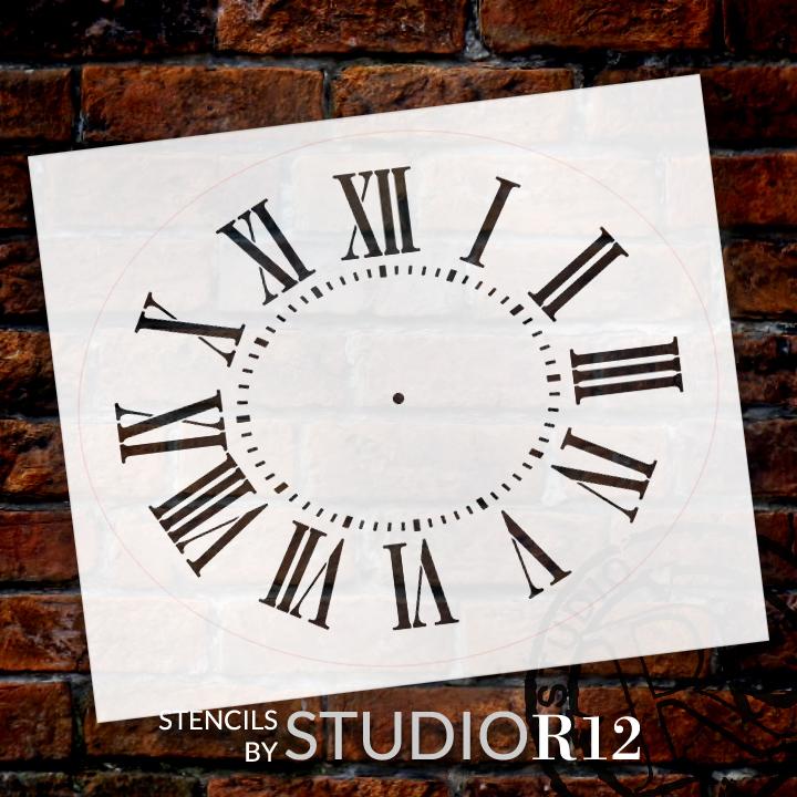 "Antique Oval Clock Face Stencil - 27"" x 22"" - 2 piece - STCL2328_10 - by StudioR12"