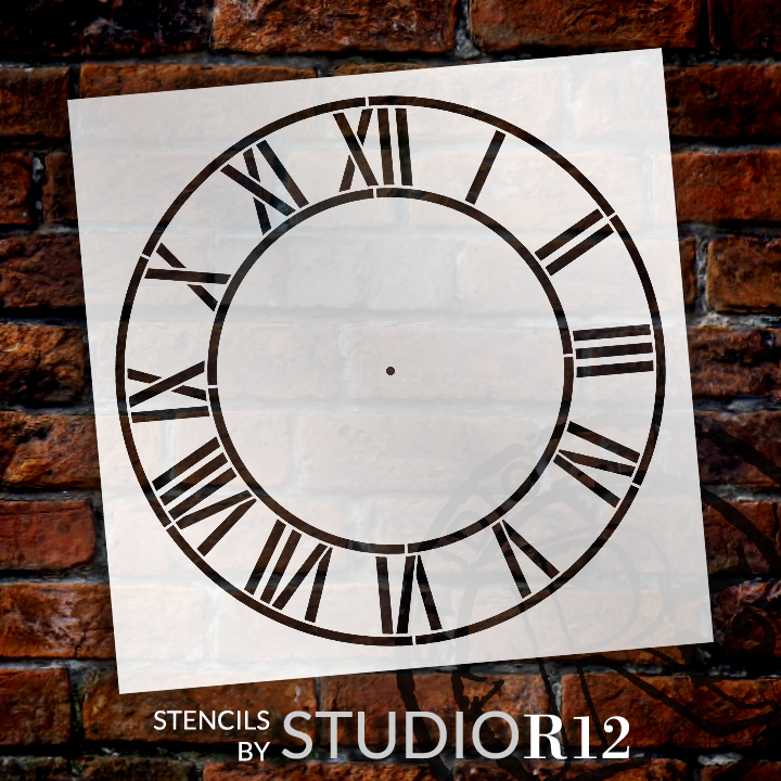 """Country Home Clock Face Stencil - 18"""" - STCL2332_7 - by StudioR12"""