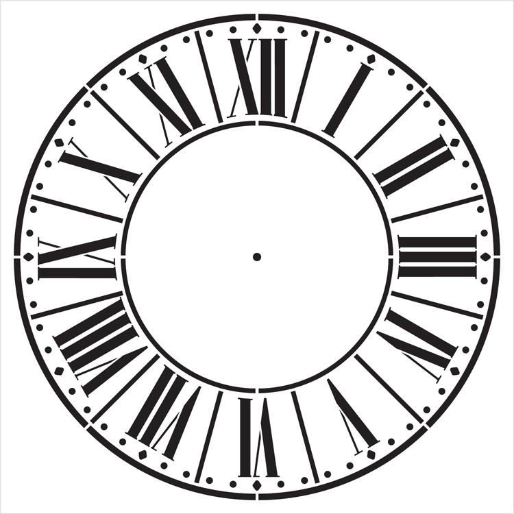 "Farmers Market Clock Face Stencil - 14"" - STCL2334_3 - by StudioR12"
