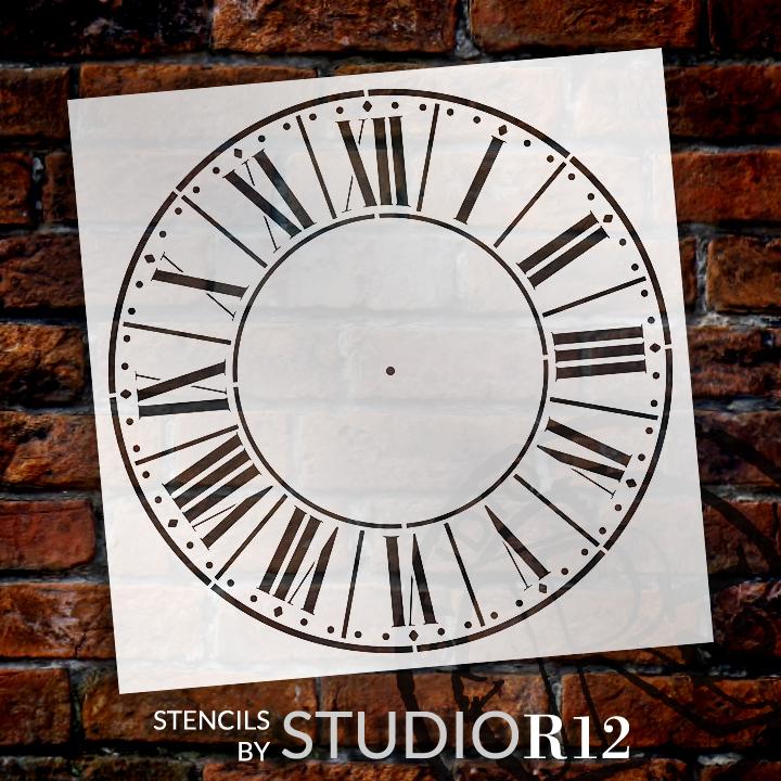 "Farmers Market Clock Face Stencil - 18"" - STCL2334_7 - by StudioR12"