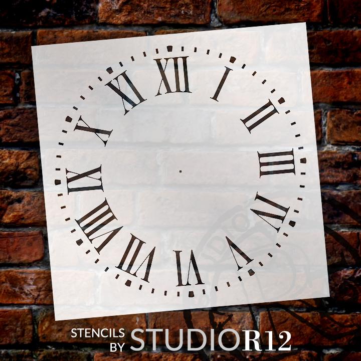 """Farmhouse Clock Face Stencil - 16"""" - STCL2336_5 - by StudioR12"""