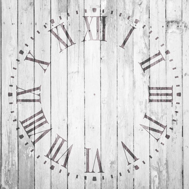"Farmhouse Clock Face Stencil - 24"" - 2 piece - STCL2336_13 - by StudioR12"