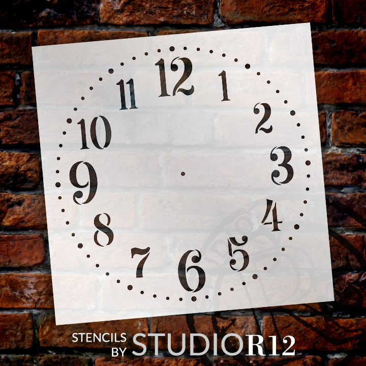 "Provincial Clock Face Stencil - 14"" - STCL2337_3 - by StudioR12"