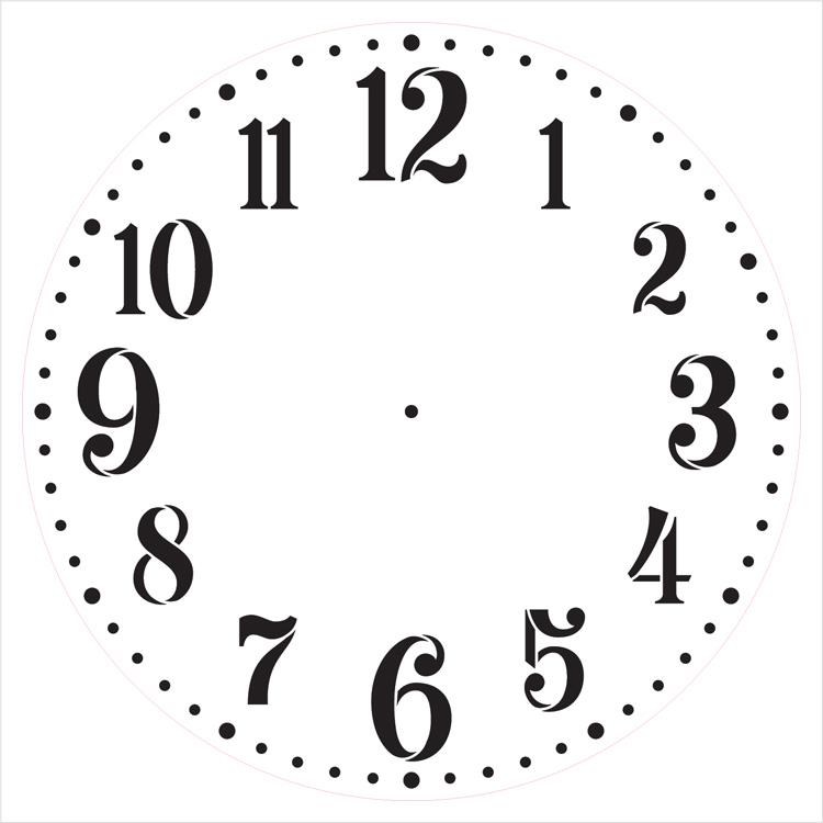 "Provincial Clock Face Stencil - 16"" - STCL2337_5 - by StudioR12"
