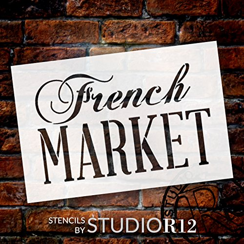 """French Market Word Stencil by StudioR12    Painting, Chalk   Use for Wood Signs, Painted Furniture, Home Decor - 24"""" x 16"""" - STCL909_7"""