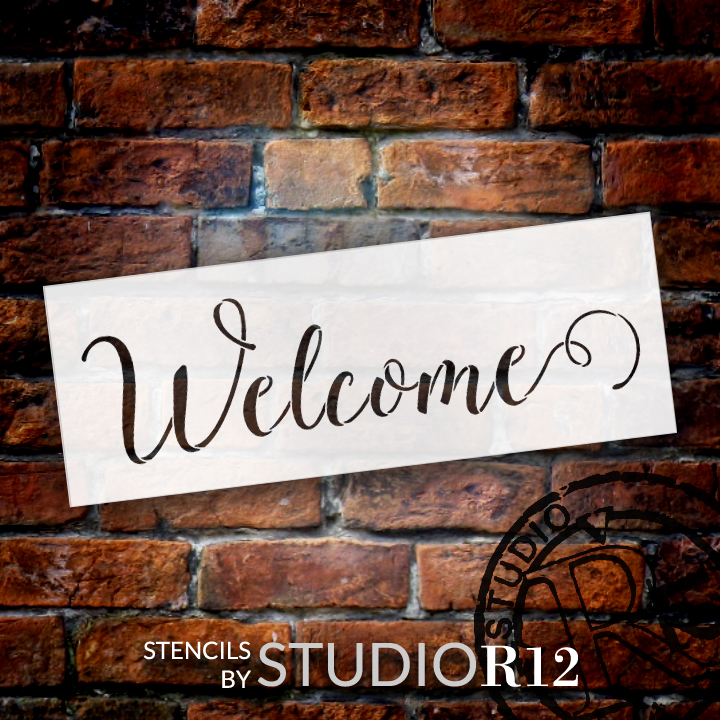 "Welcome  Word Stencil by StudioR12 - Sunny Script - 13"" x 5"" - STCL1438_2"