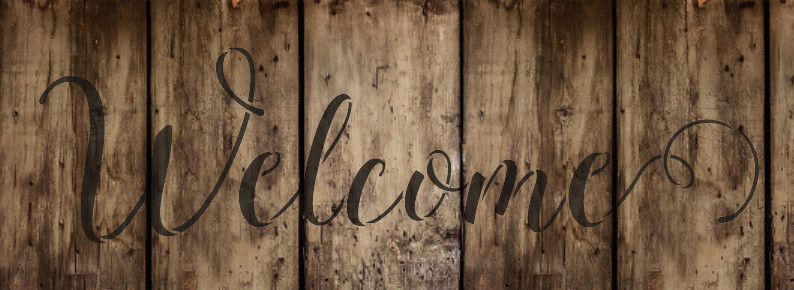 """Welcome  Word Stencil by StudioR12 - Sunny Script - 24"""" x 8"""" - STCL1438_5"""
