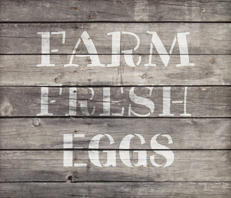 "Farm Fresh Eggs Word Stencil by StudioR12 - Fun Country Word Art - 10"" x 9"" - STCL2184_2"