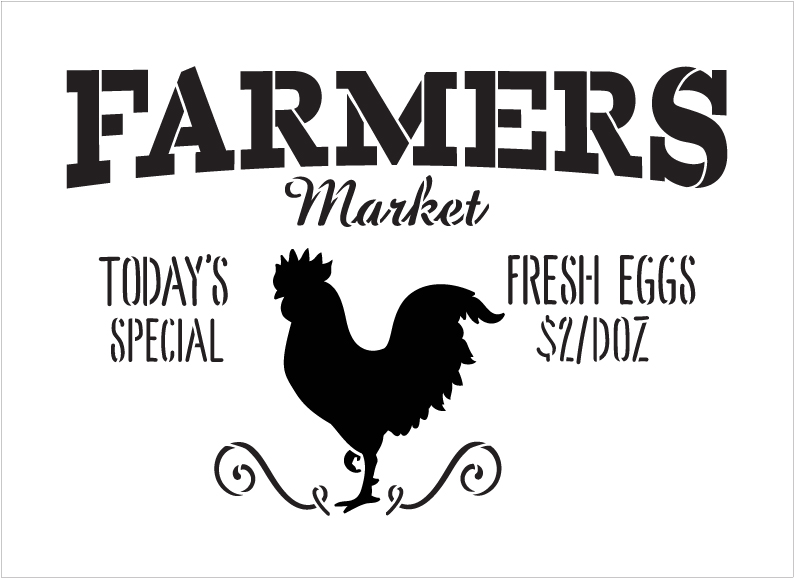 """Farmers Market - Today's Special - Fresh Eggs $2/Doz Word Stencil by StudioR12 - Rooster Word Art - 24"""" x 17"""" - STCL2186_5"""
