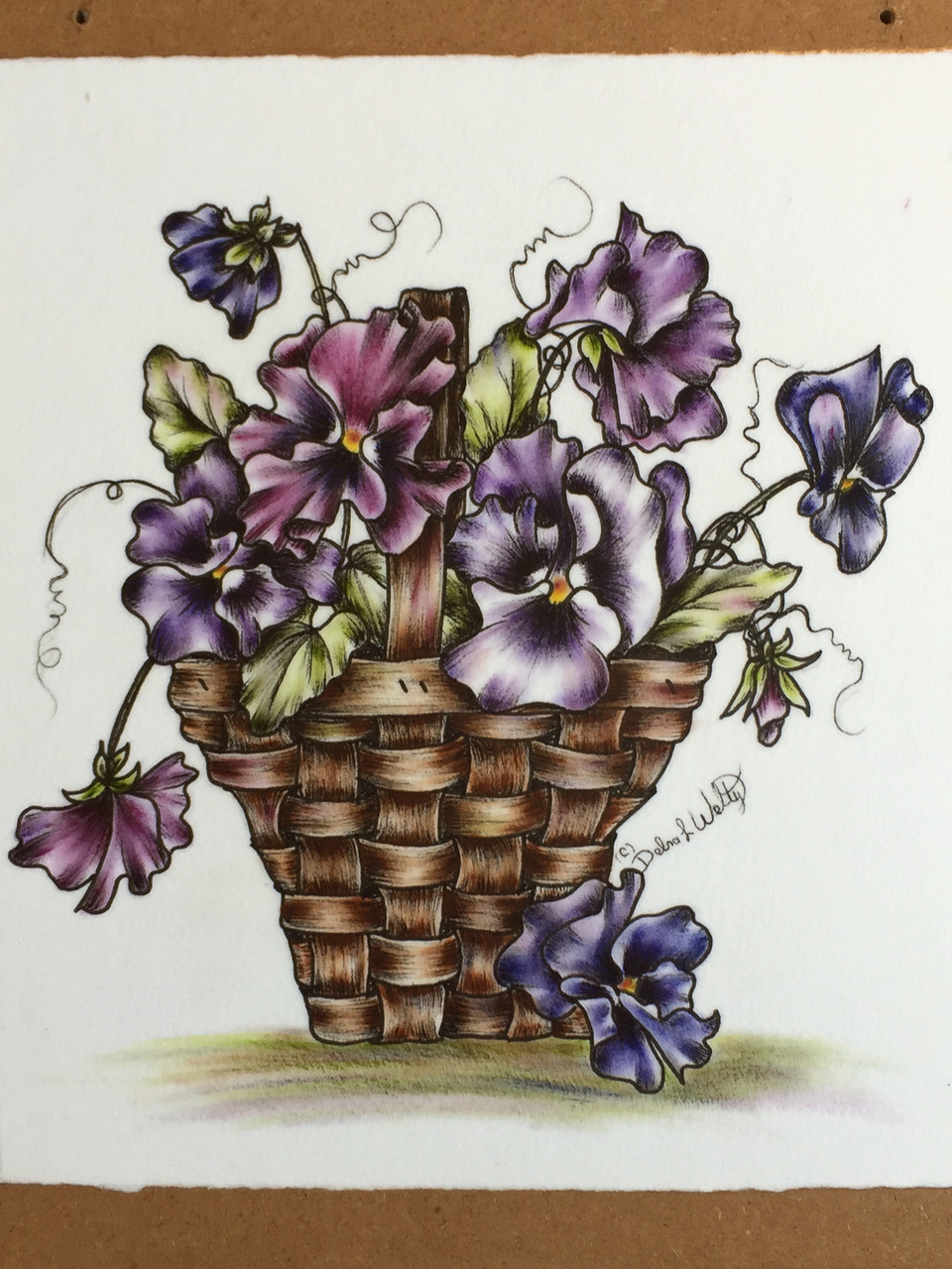 Pansy Basket - Oils - E-Packet - Debra Welty