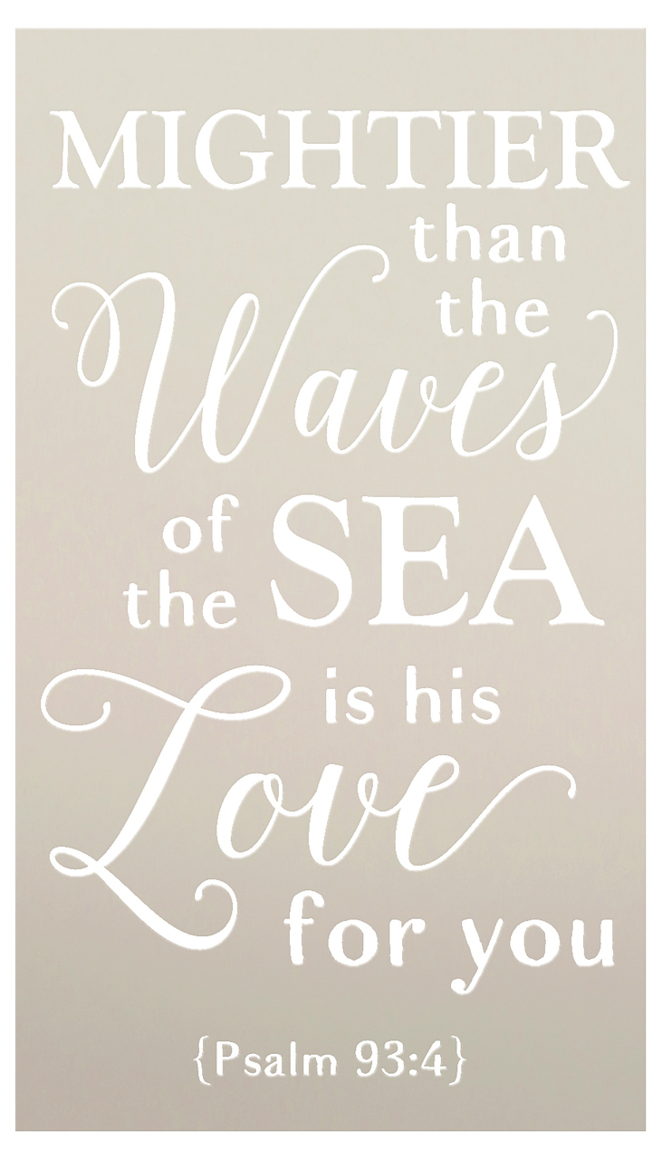 """Mightier Than the Waves - Anchor - Psalm 93:4 - 2 Part Stencil by StudioR12 - Scripture Word Art - 13"""" x 21"""" - STCL2400_2"""