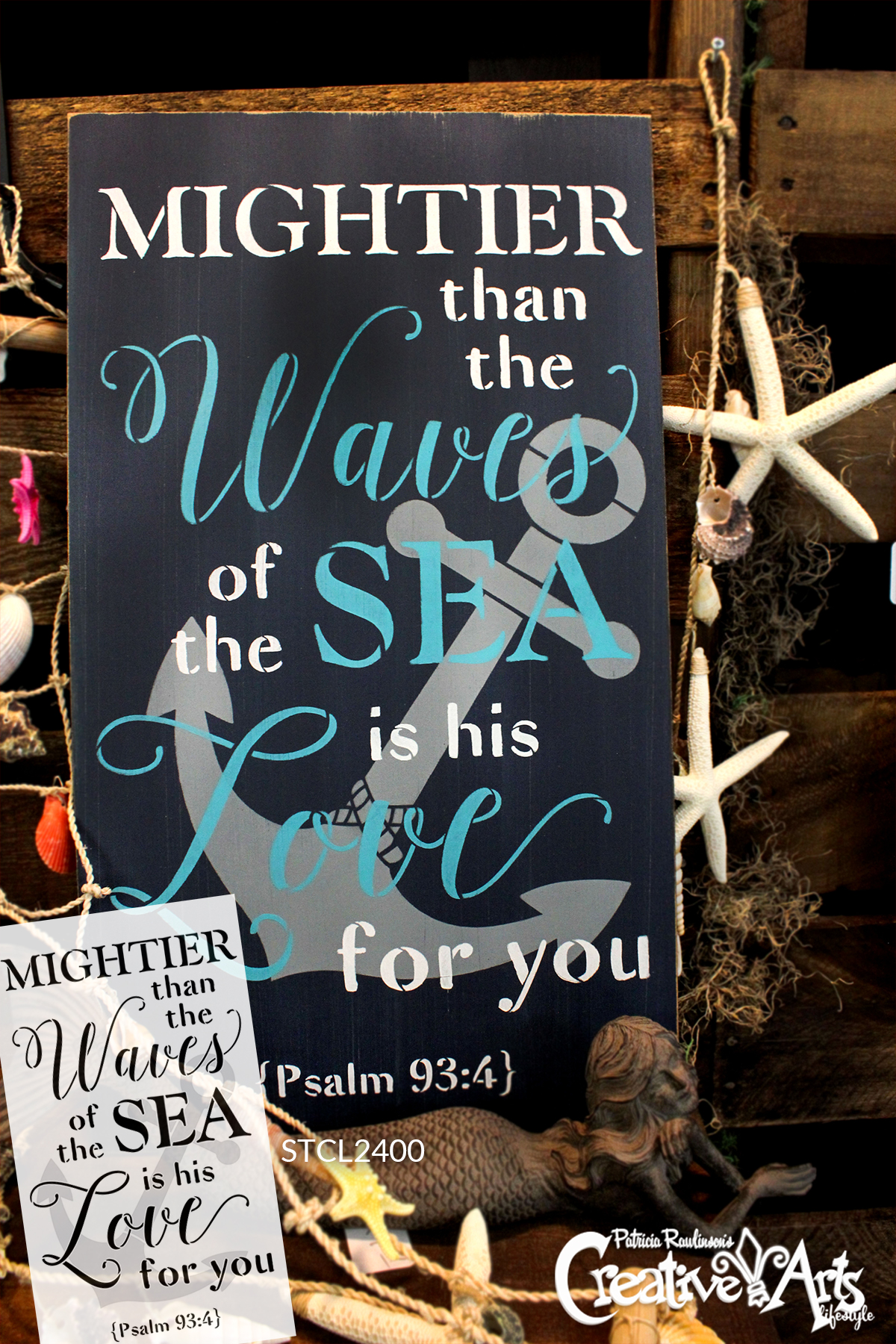 """Mightier Than the Waves - Anchor - Psalm 93:4 - 2 Part Stencil by StudioR12 - Scripture Word Art - 19"""" x 30"""" - STCL2400_4"""