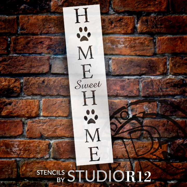 """Home Sweet Home - Dog Paw Prints - 2 Part - Stencil by StudioR12 - Welcome Pet Word Art - 10"""" x 30"""" - STCL2402_3"""