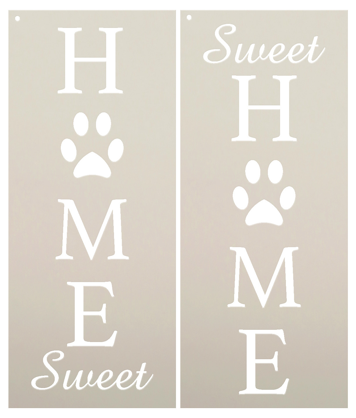 """Home Sweet Home - Dog Paw Prints - 2 Part - Stencil by StudioR12 - Welcome Pet Word Art - 12"""" x 30"""" - STCL2402_4"""